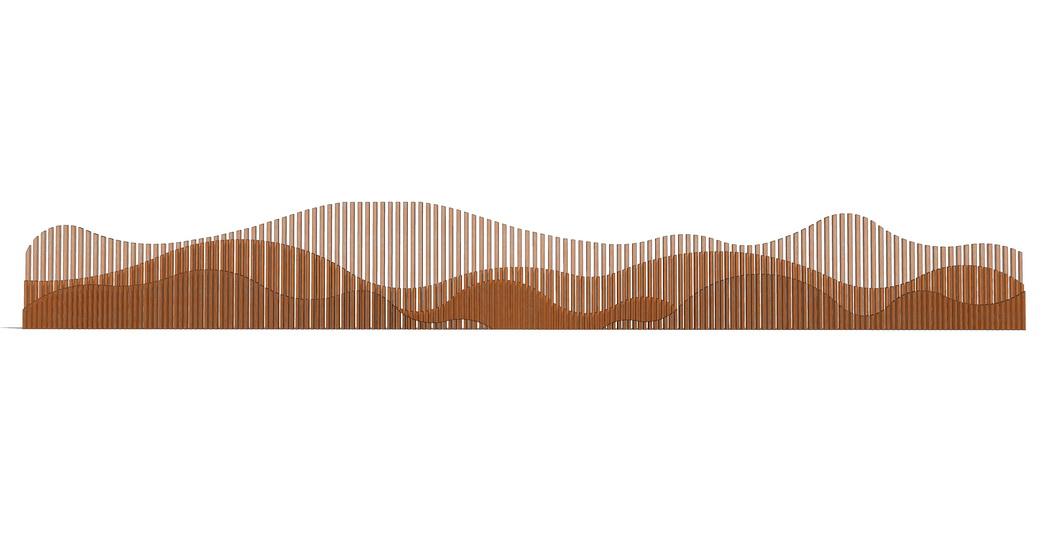 新中式景墻山水景墻SU模型