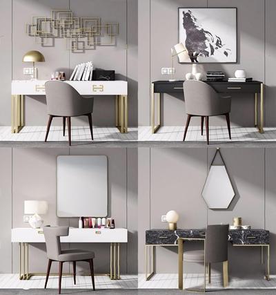 现代梳妆台组合 现代梳妆台 台灯 挂画 金属墙饰 摆件 椅子 单椅 餐椅