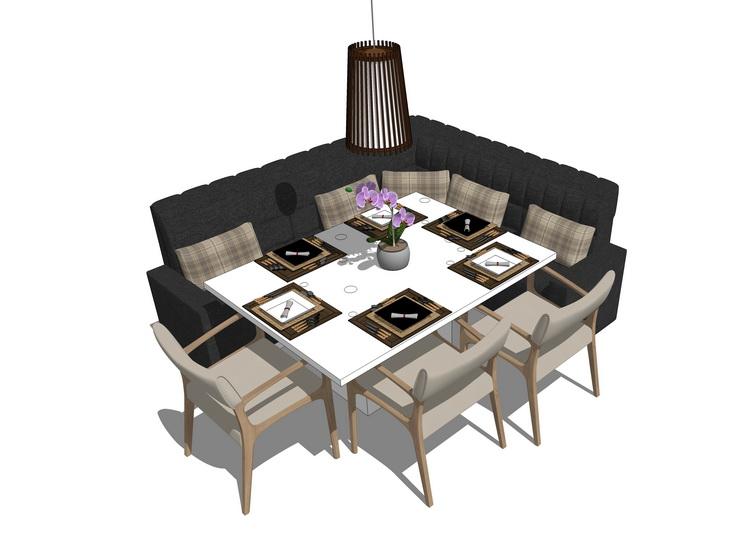 卡座餐桌SU模型
