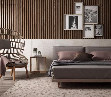 现代床具 现代床具 椅子 装饰画 角几 床品 地毯