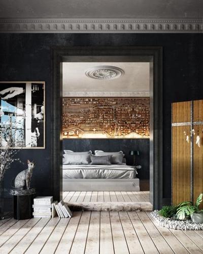 欧式床具 简欧床具 隔断 装饰画 植物 花艺 花瓶 摆件