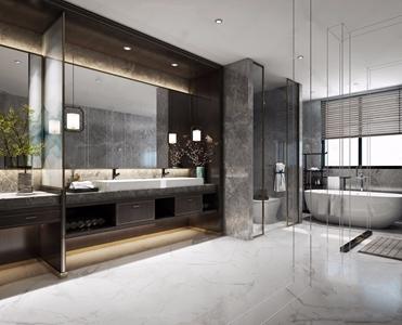 新中式卫生间 新中式卫浴 卫浴柜 洗脸台 马桶 淋浴房 毛巾架 镜子 地毯 植物