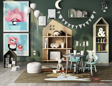 北欧儿童桌椅边柜组合 北欧书桌椅 储物柜 沙发垫 墙饰 玩具
