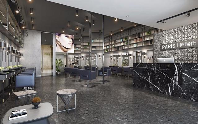 工业风理发店 工业风商业零售 理发店 收银台 椅子 理发台 茶几 凳子 绿植