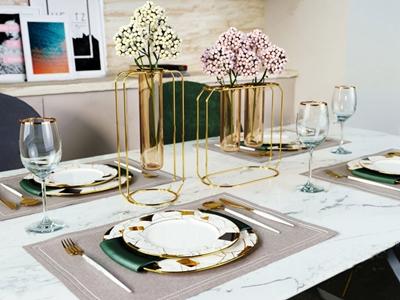 北欧轻奢餐具组合 北欧摆件 花瓶 花卉 餐具