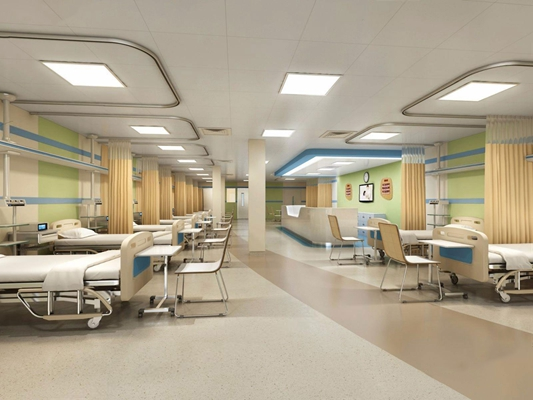 现代医院病房 医院 病房 病号床 椅子 吸顶灯 值班室 询问台