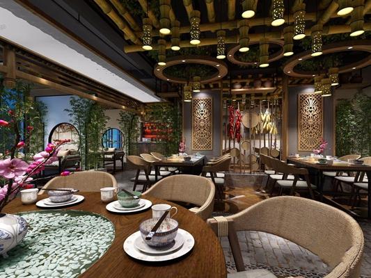 新中式餐厅 新中式餐厅 餐桌椅 吊灯 竹子吊灯 绿植 卡座 装饰柜