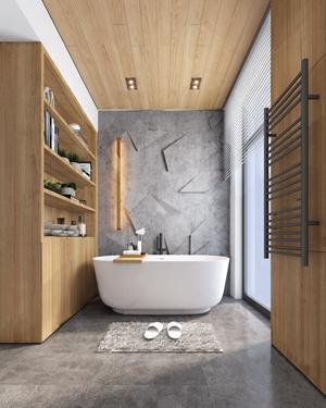 现代卫生间 现代卫浴 浴缸 壁灯 储物柜 拖鞋