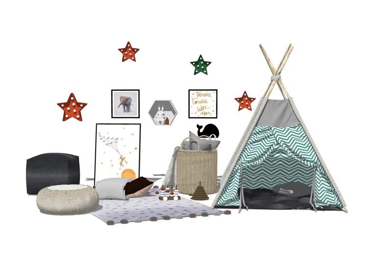 儿童帐篷SU模型
