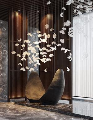 新中式酒店景觀 新中式擺件 雕塑 落地大型擺件 吊飾 木格柵隔斷