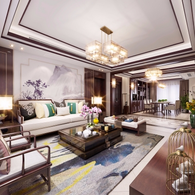 新中式客廳餐廳玄關臥室3D模型