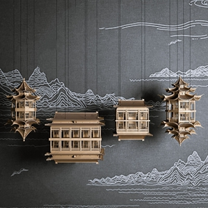 新中式古建反射装置 新中式摆件 装置 吊灯 艺术