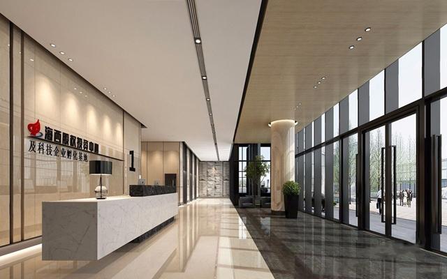 现代办公大厅 现代前台接待 办公大厅 接待台 等候区 单人沙发 背景墙