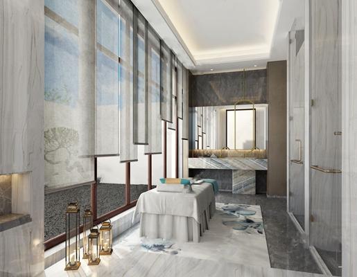 新中式SPA房 新中式spa 按摩床 卷帘 洗手台 浴池 盆栽