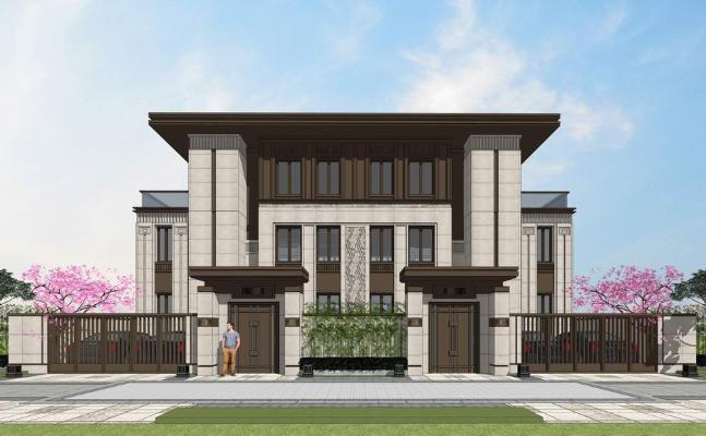 新亚洲风格双拼别墅SU模型