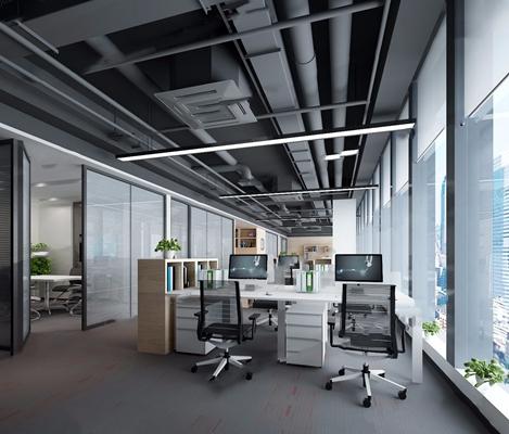 万科云二期办公室 现代办公区 办公桌 办公椅 吊顶 书架 会议桌 百叶帘