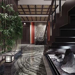新中式过道楼梯间 新中式过道 楼梯间 边几 石雕 竹子 楼梯 山石 户外灯