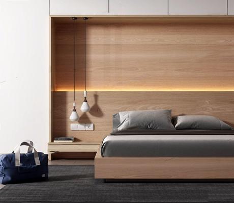 现代极简卧室 现代双人床 双人床 吊灯 储物柜 旅行背包