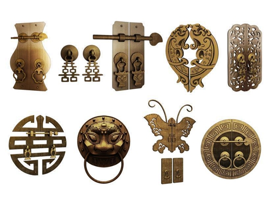 中式古风五金件组合 中式五金 中式铜锁 中式雕花