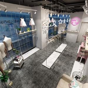 北欧儿童服装店铺 北欧商业零售 衣柜 单人沙发 休闲椅 衣架 衣服 童装 吧台 植物 盆栽 吊灯