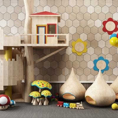 现代儿童游乐园木屋玩具组合3D模型