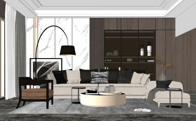 现代沙发茶几组合SU模型