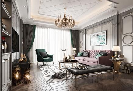 简欧客厅 简欧客厅 多人沙发 茶几 单人沙发 沙发凳 角几 电视柜 装饰柜 台灯 吊灯