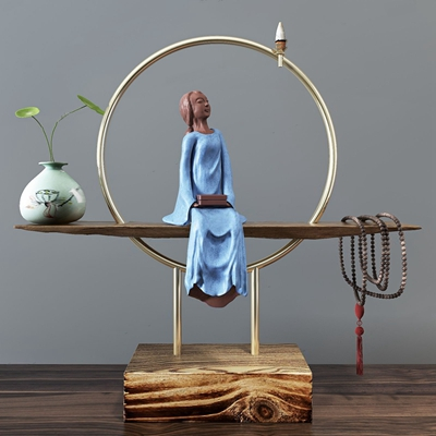 千瓷轩精品侍女禅意摆件 新中式摆件 侍女摆件 菩提串珠 花瓶 千瓷轩