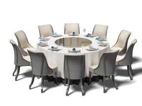 现代实木圆形餐桌椅餐具组合3D模型