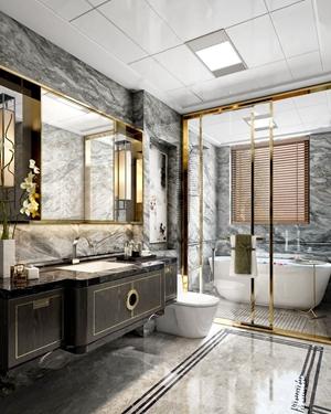 新中式卫生间 新中式卫浴 浴缸 马桶 浴室柜 台盆 水龙头 壁灯 梳妆镜 摆件