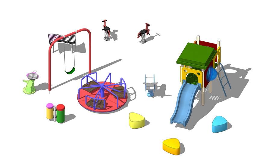 滑滑梯秋千儿童娱乐设施SU模型