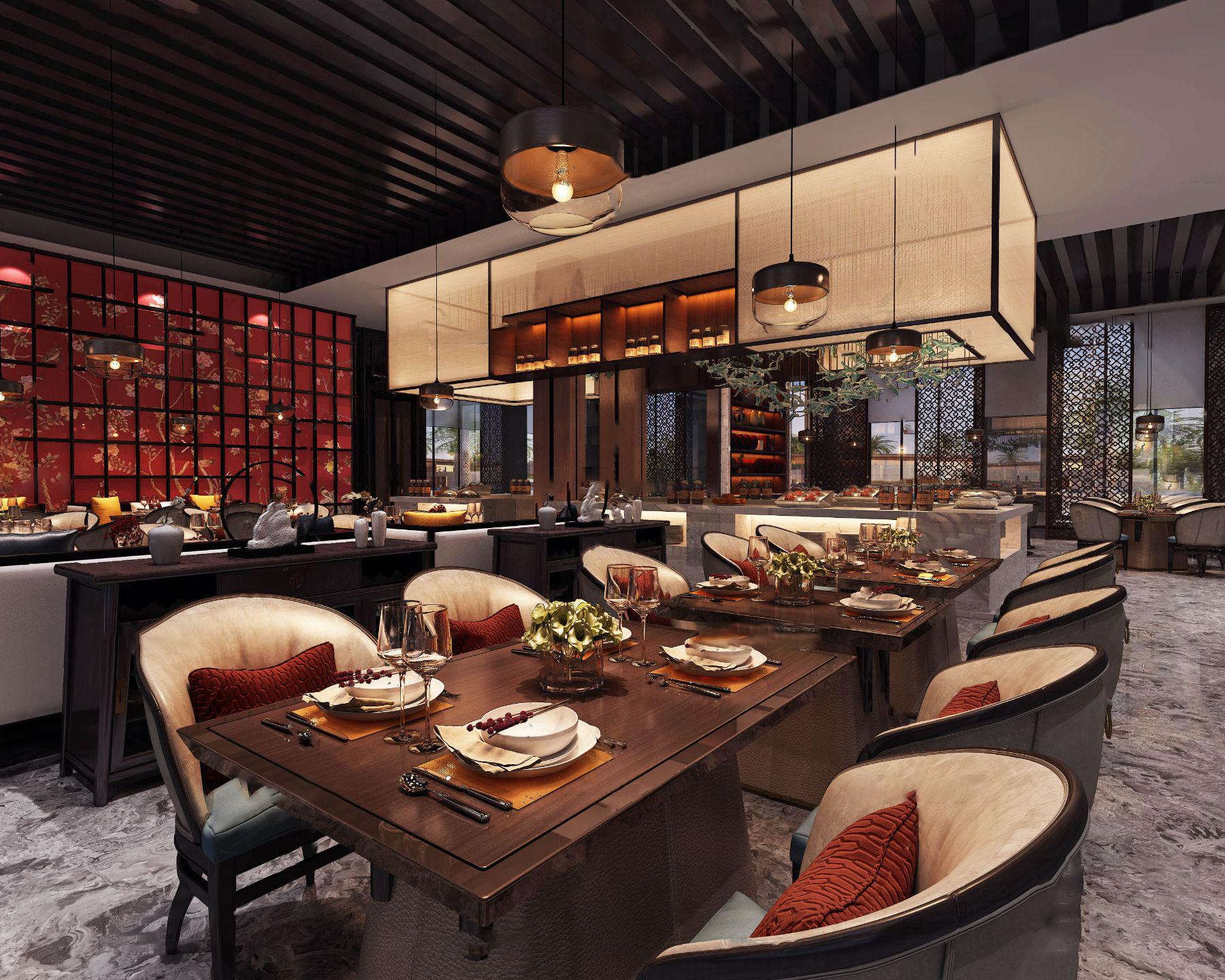 新中式酒店中餐厅3d模型