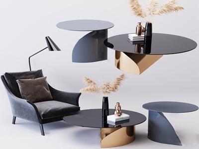现代休闲椅圆几茶几3d模型