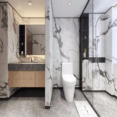 现代卫生间 现代卫浴 马桶 淋浴间 洗手台 镜子