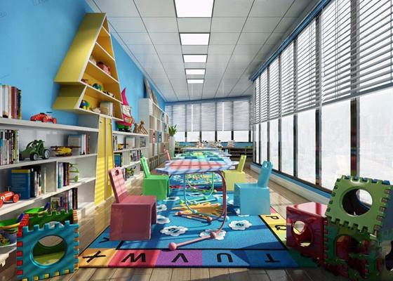 幼儿园 现代幼儿园 托儿所 早教中心 儿童乐园 教室 走廊 玩具 桌椅