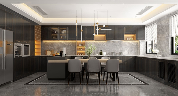 新中式轻奢厨房中岛台3d模型