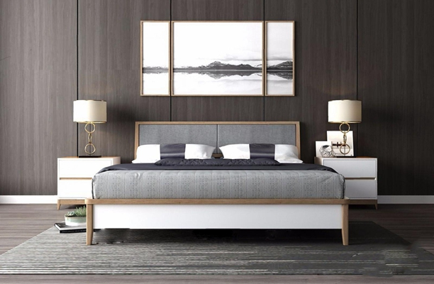 北欧床具 北欧床具 双人床 床头柜 台灯 水墨挂画