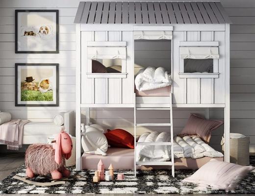 美国RH(Restoration Hardware)儿童房上下铺组合 美式单人床 上下铺 高低床 床尾凳 地毯 挂画 玩具 美国 RH