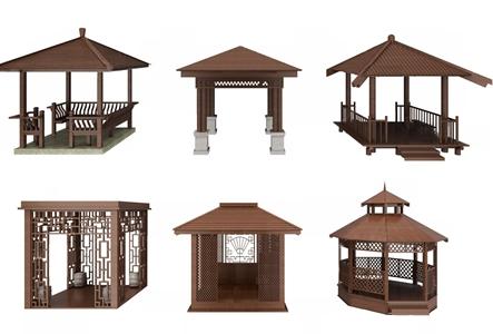 中式凉亭组合3d模型