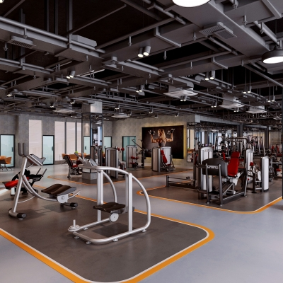 工业风健身房3D模型