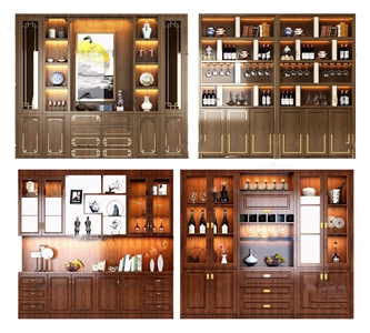 新中式实木酒柜3d模型