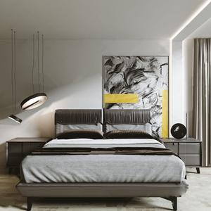 现代双人床 现代双人床 床头柜 吊灯