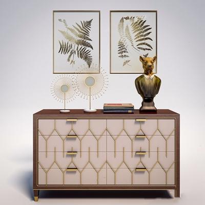 新古典边柜 新古典边柜/玄关柜 动物雕塑 装饰画 摆件