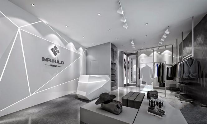 现代男装店 现代商业零售 收银台 橱窗 衣服 服装 男装 皮包