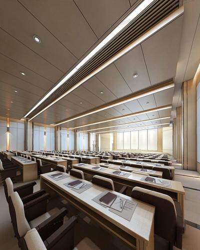 现代报告厅 现代报告厅 会议桌 椅子 吊顶
