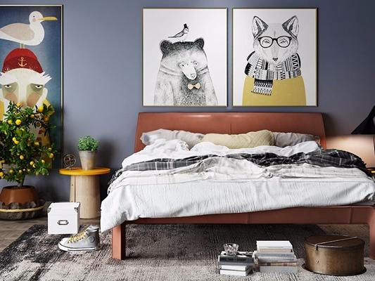 北欧床具 北欧床具 装饰画 床品 摆件