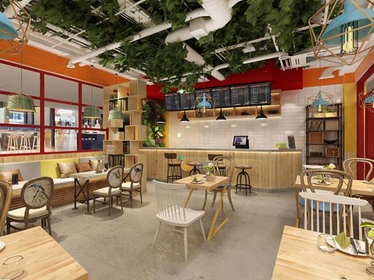 loft饮品店 工业风餐饮 奶茶店 植物 饮品 收银台 吊灯 装饰架 餐桌椅