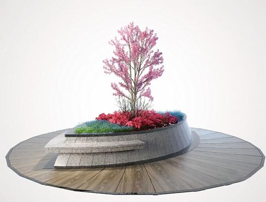 现代户外花坛3D模型