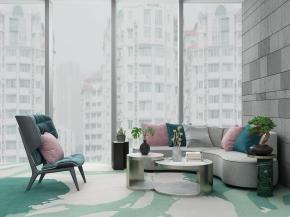 现代弧形沙发茶几休闲椅摆件组合3D模型