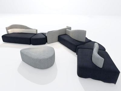 现代布艺异形沙发3d模型